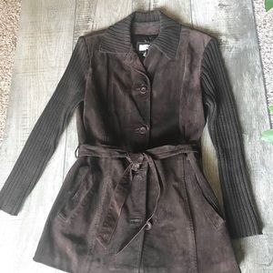 Vakko Suede Leather & Knit Brown Belted Jacket